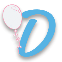 Letra D con un globo